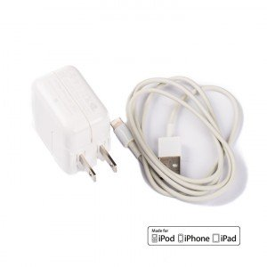 USB Wall Plug (OEM) and MFI Lightning Cable for iPad (OEM) - White